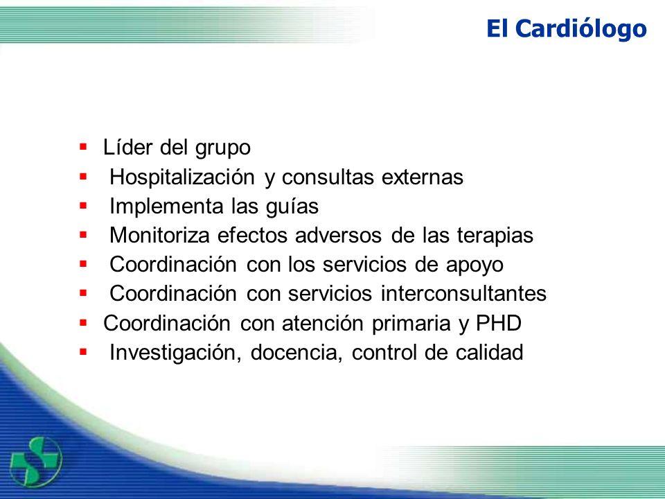 El Cardiólogo Líder del grupo Hospitalización y consultas externas