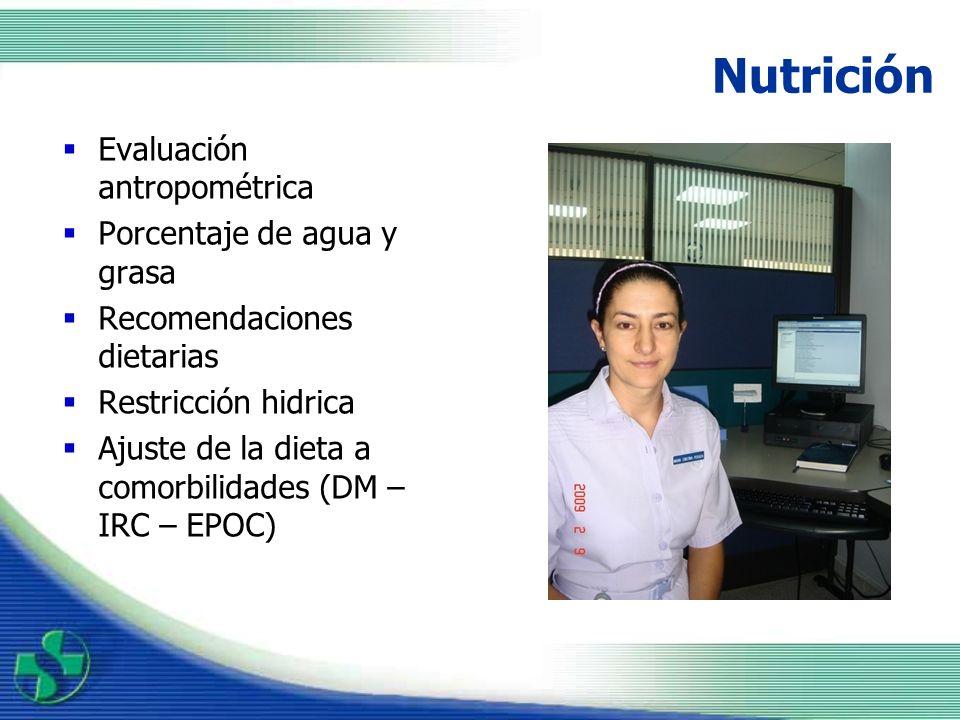 Nutrición Evaluación antropométrica Porcentaje de agua y grasa
