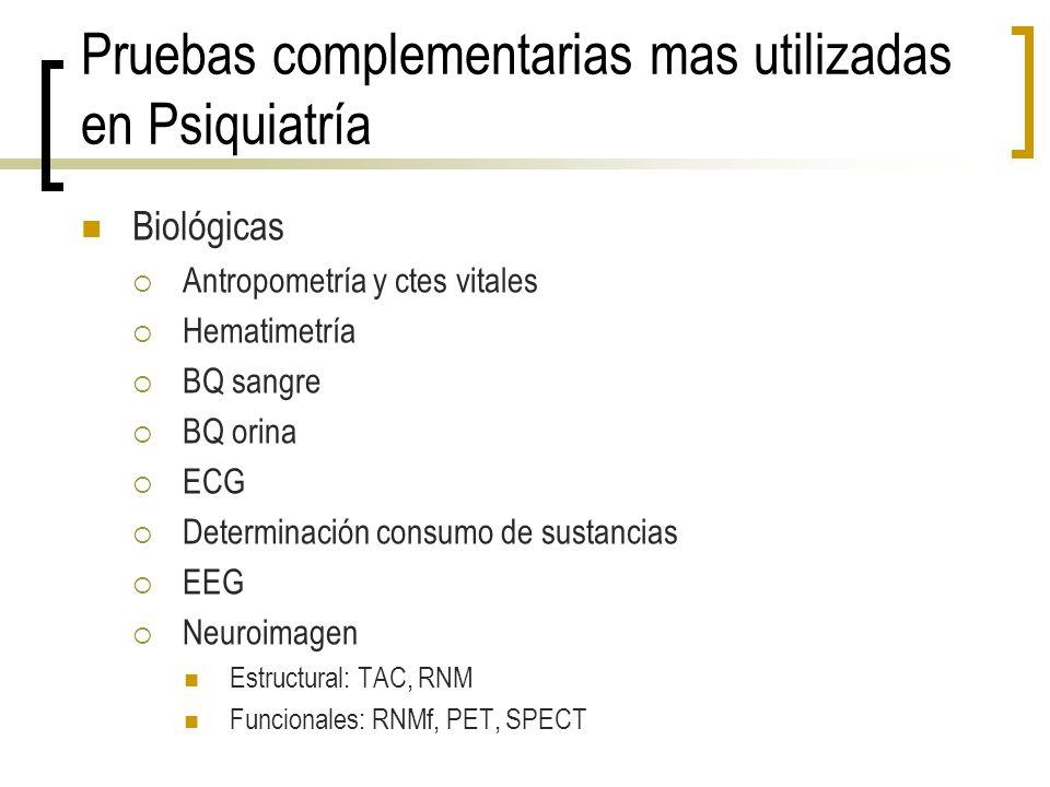 Pruebas complementarias mas utilizadas en Psiquiatría