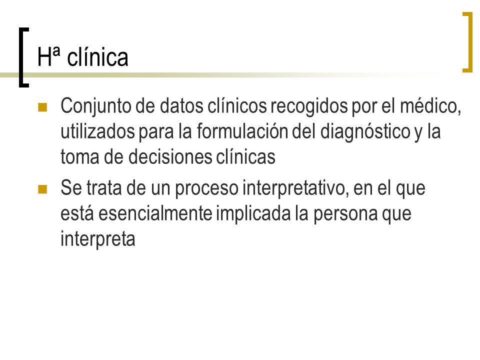 Hª clínica Conjunto de datos clínicos recogidos por el médico, utilizados para la formulación del diagnóstico y la toma de decisiones clínicas.