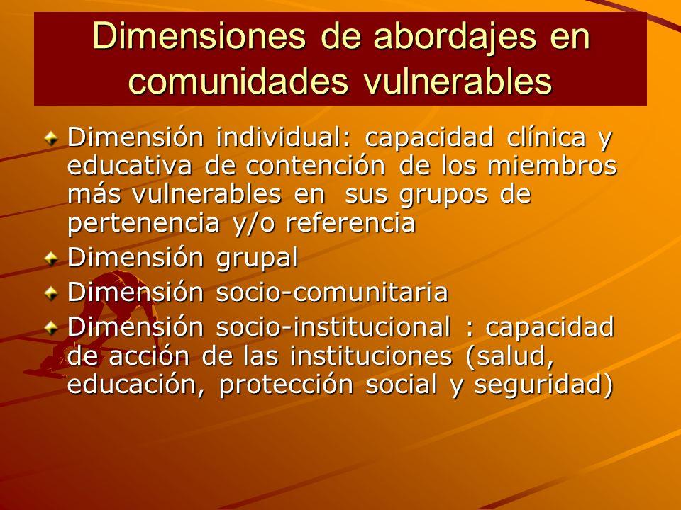 Dimensiones de abordajes en comunidades vulnerables