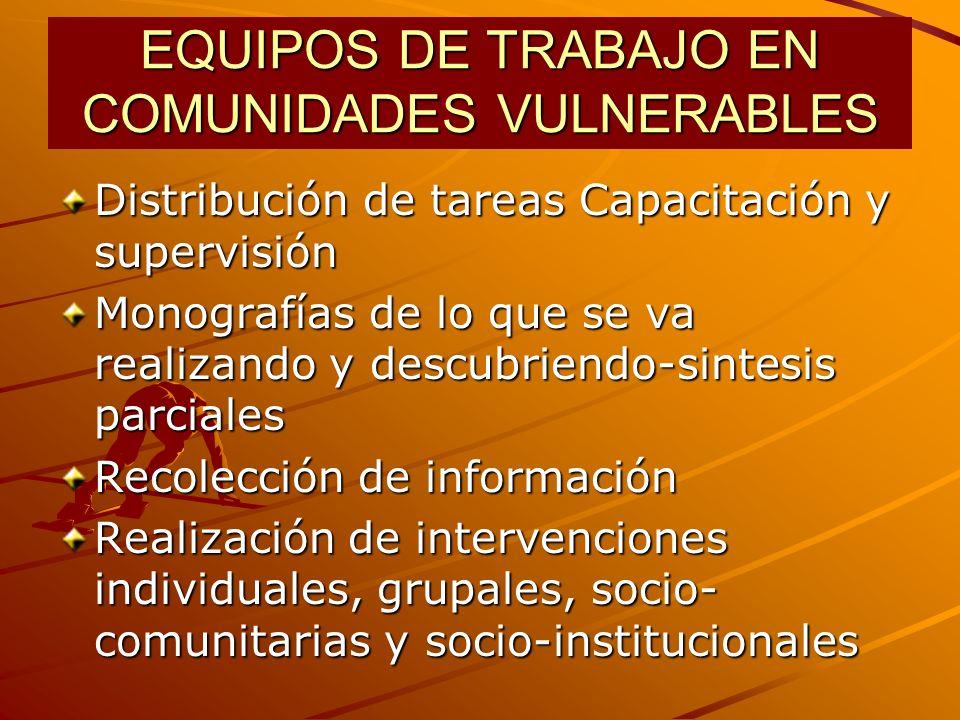 EQUIPOS DE TRABAJO EN COMUNIDADES VULNERABLES