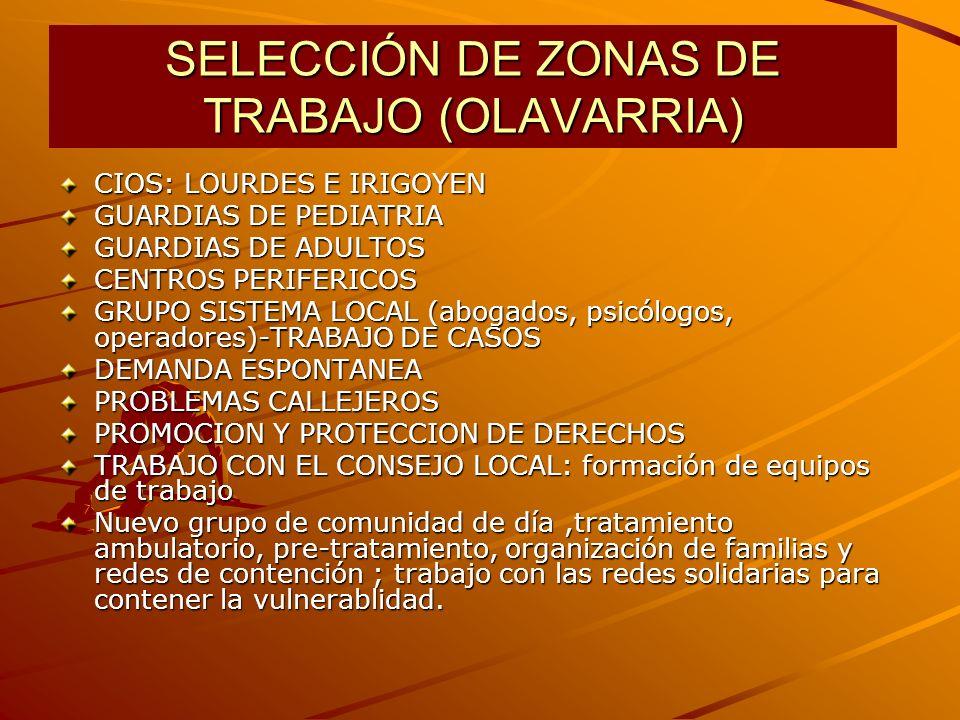 SELECCIÓN DE ZONAS DE TRABAJO (OLAVARRIA)