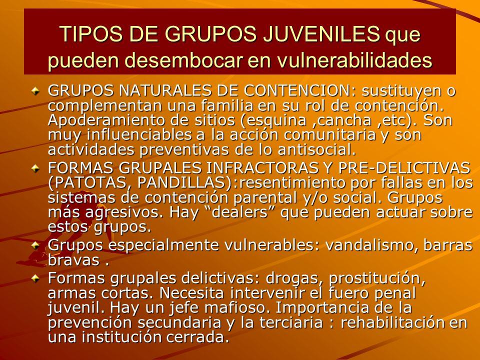 TIPOS DE GRUPOS JUVENILES que pueden desembocar en vulnerabilidades