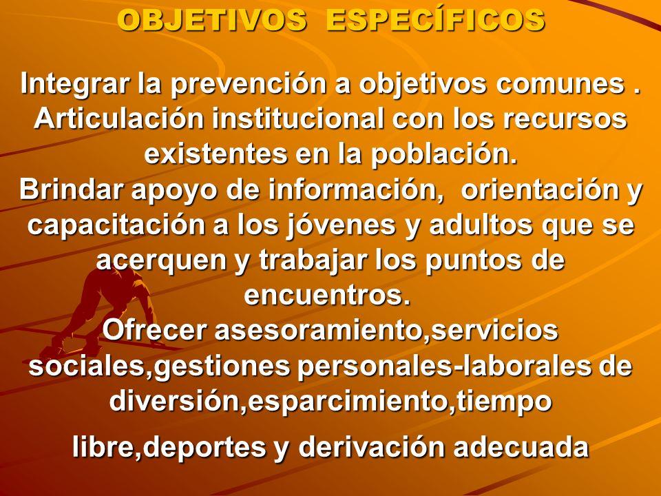 OBJETIVOS ESPECÍFICOS Integrar la prevención a objetivos comunes