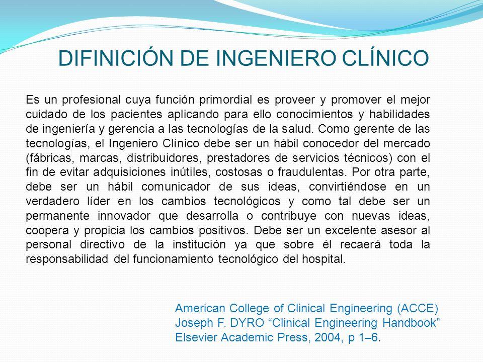 DIFINICIÓN DE INGENIERO CLÍNICO