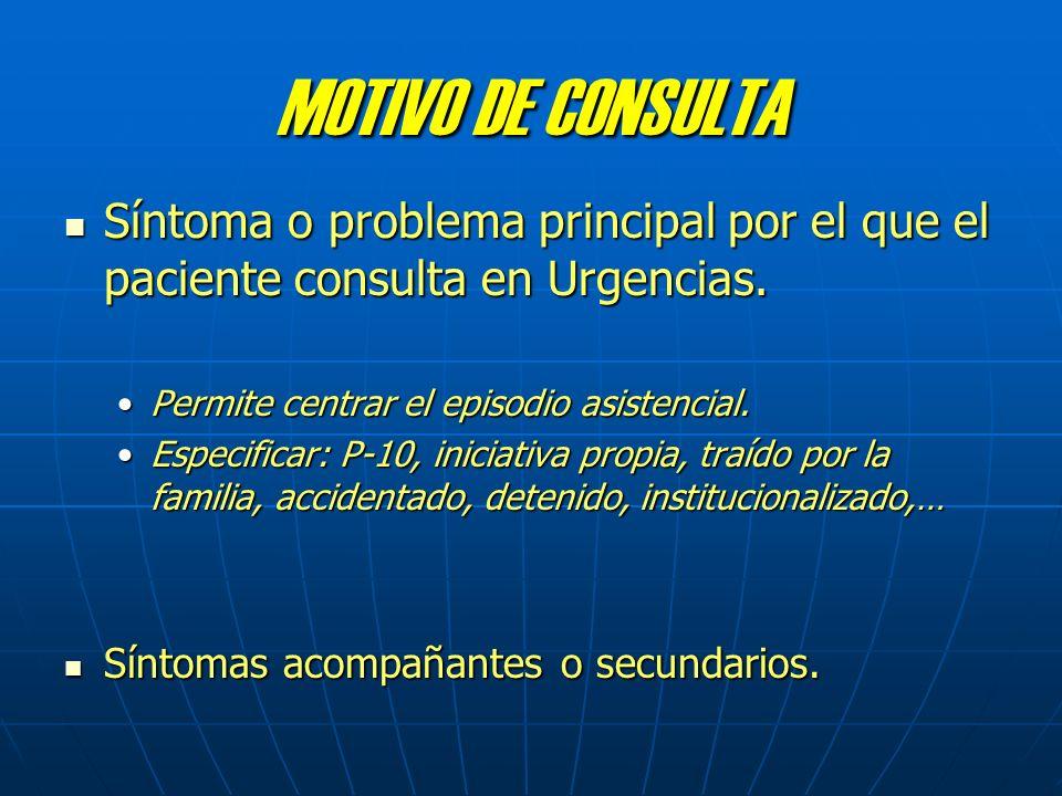 MOTIVO DE CONSULTA Síntoma o problema principal por el que el paciente consulta en Urgencias. Permite centrar el episodio asistencial.