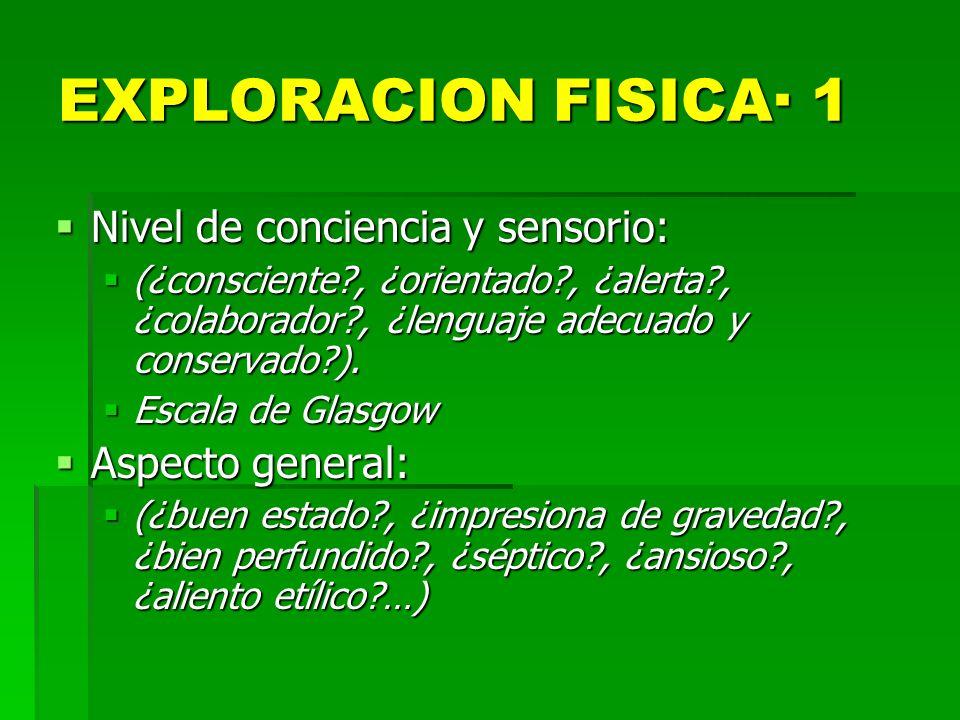 EXPLORACION FISICA· 1 Nivel de conciencia y sensorio: Aspecto general: