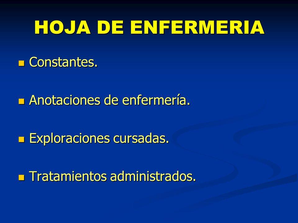 HOJA DE ENFERMERIA Constantes. Anotaciones de enfermería.