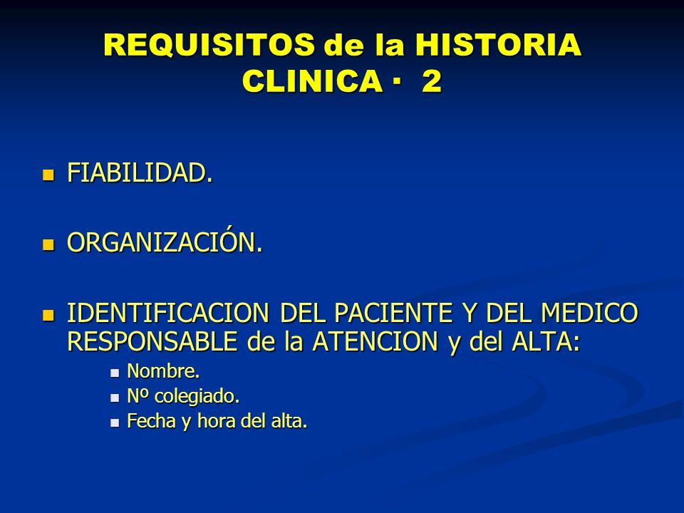 REQUISITOS de la HISTORIA CLINICA · 2