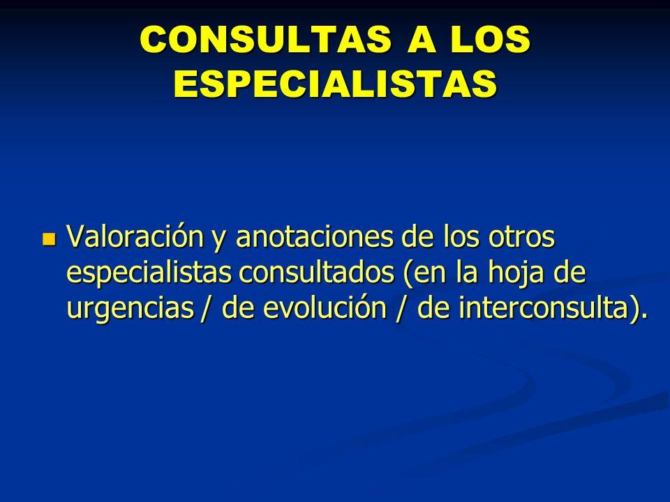 CONSULTAS A LOS ESPECIALISTAS