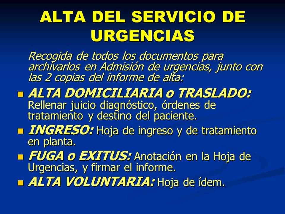 ALTA DEL SERVICIO DE URGENCIAS