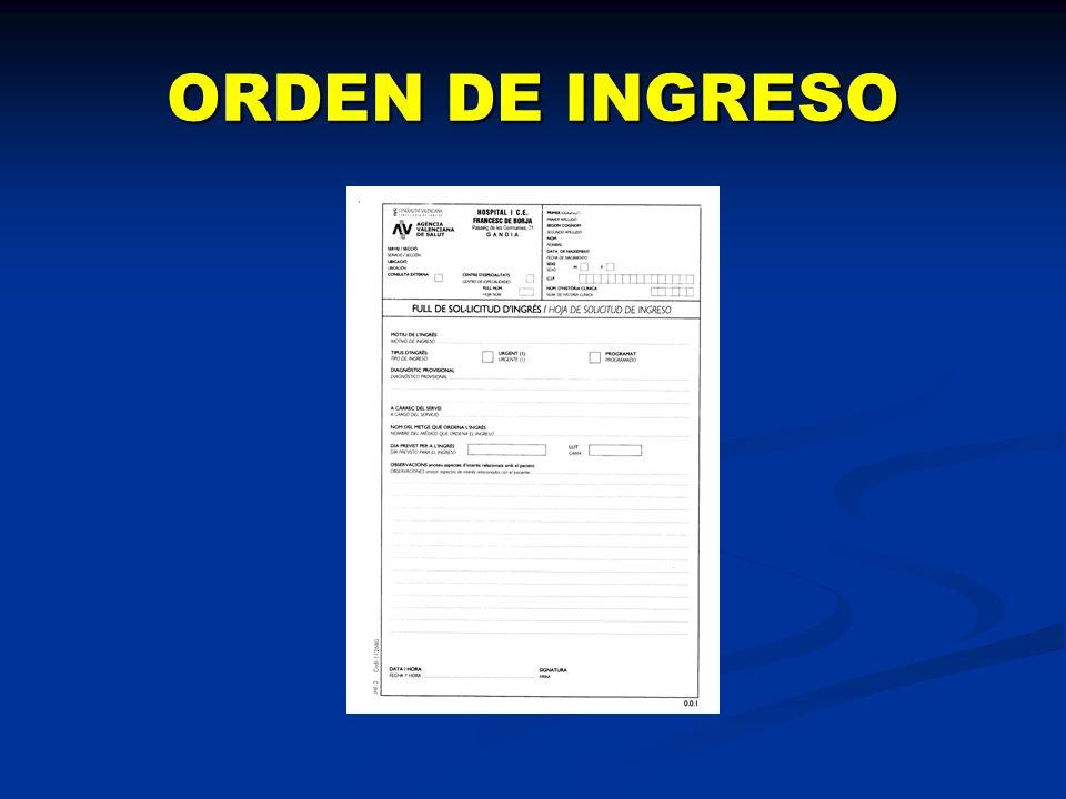 ORDEN DE INGRESO