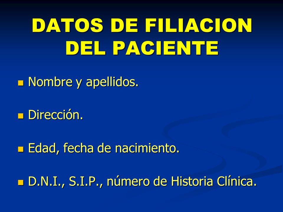 DATOS DE FILIACION DEL PACIENTE
