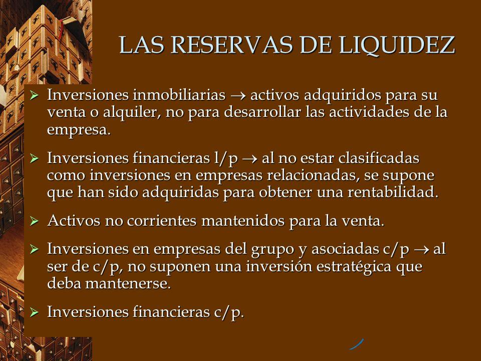 LAS RESERVAS DE LIQUIDEZ