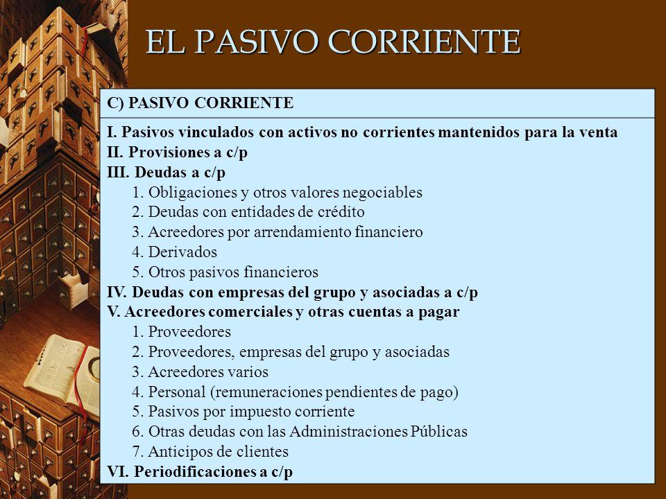 EL PASIVO CORRIENTE C) PASIVO CORRIENTE