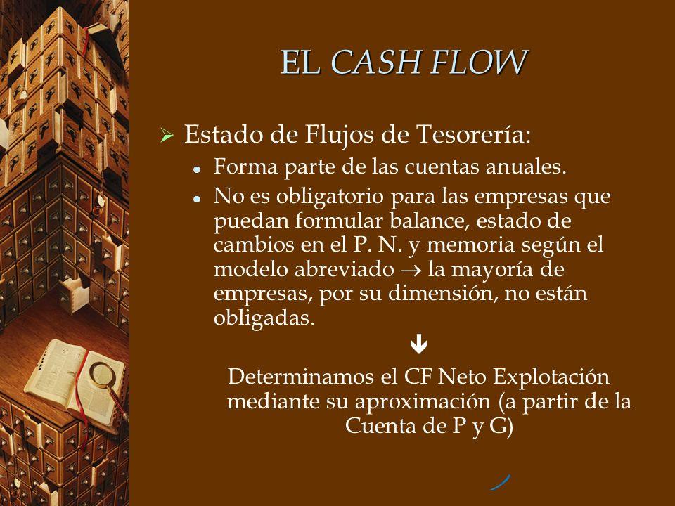 EL CASH FLOW Estado de Flujos de Tesorería: