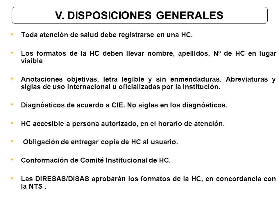 V. DISPOSICIONES GENERALES