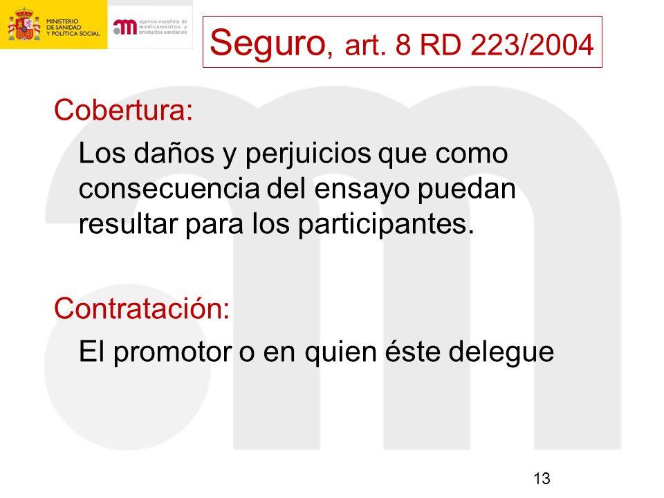 Seguro, art. 8 RD 223/2004 Cobertura: