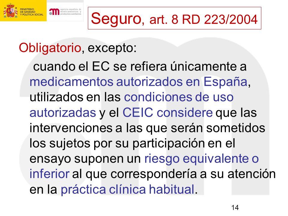 Seguro, art. 8 RD 223/2004 Obligatorio, excepto: