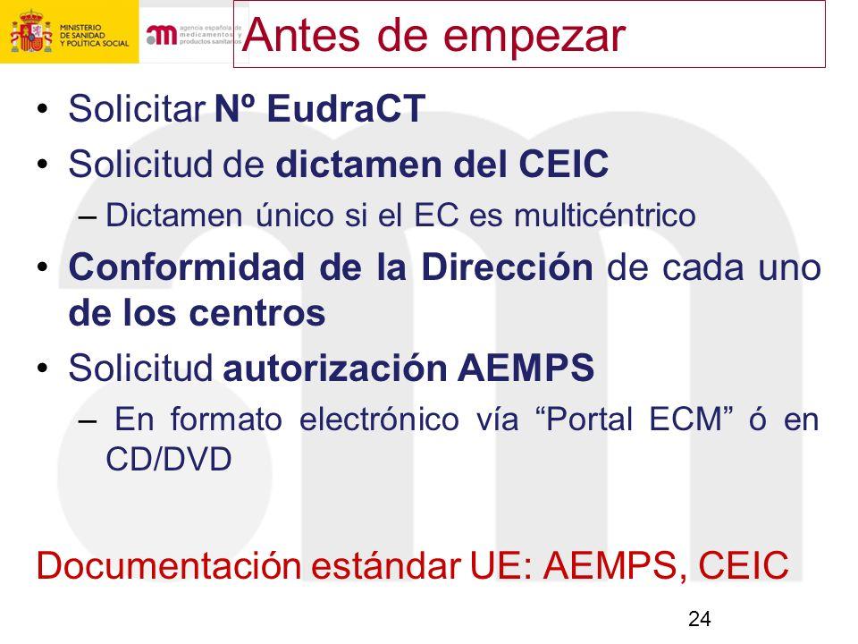 Antes de empezar Solicitar Nº EudraCT Solicitud de dictamen del CEIC