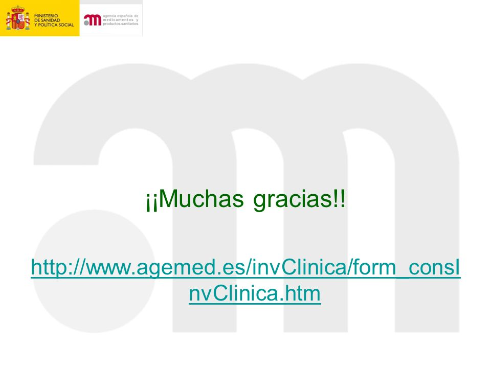¡¡Muchas gracias!! http://www.agemed.es/invClinica/form_consInvClinica.htm