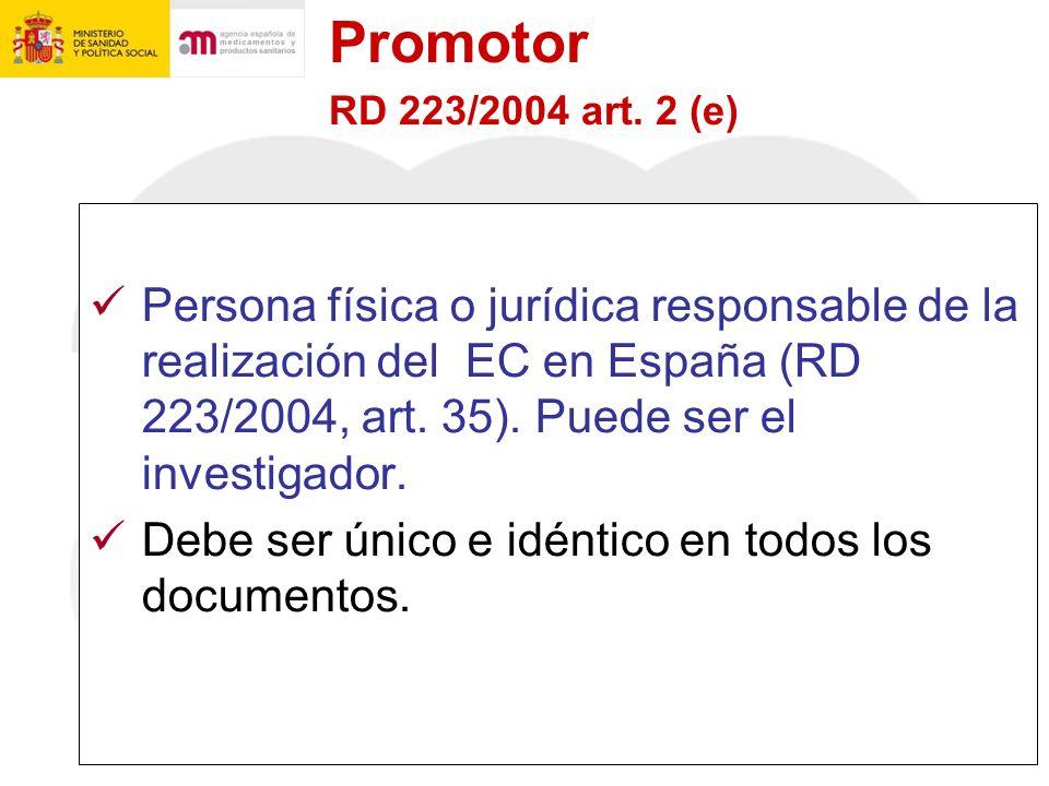 Promotor RD 223/2004 art. 2 (e)