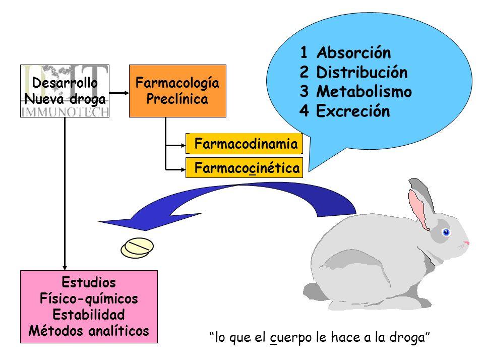 1 Absorción 2 Distribución 3 Metabolismo 4 Excreción Desarrollo