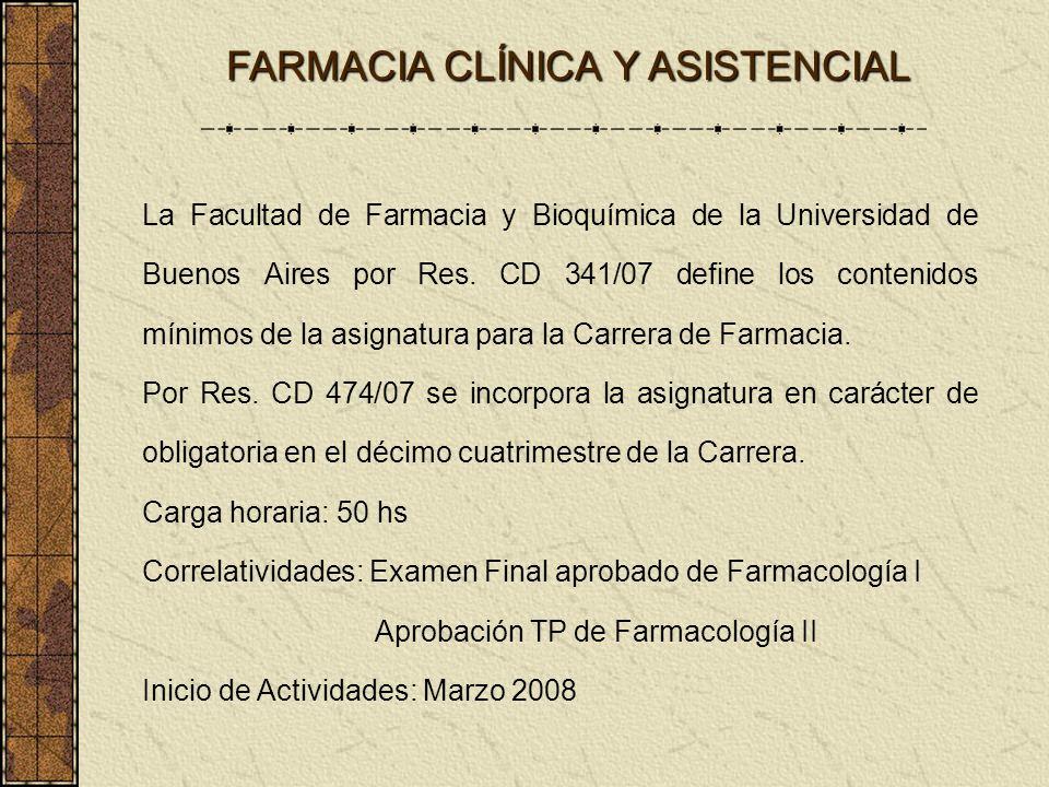 FARMACIA CLÍNICA Y ASISTENCIAL