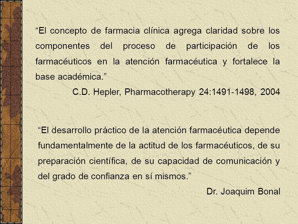 El concepto de farmacia clínica agrega claridad sobre los componentes del proceso de participación de los farmacéuticos en la atención farmacéutica y fortalece la base académica.