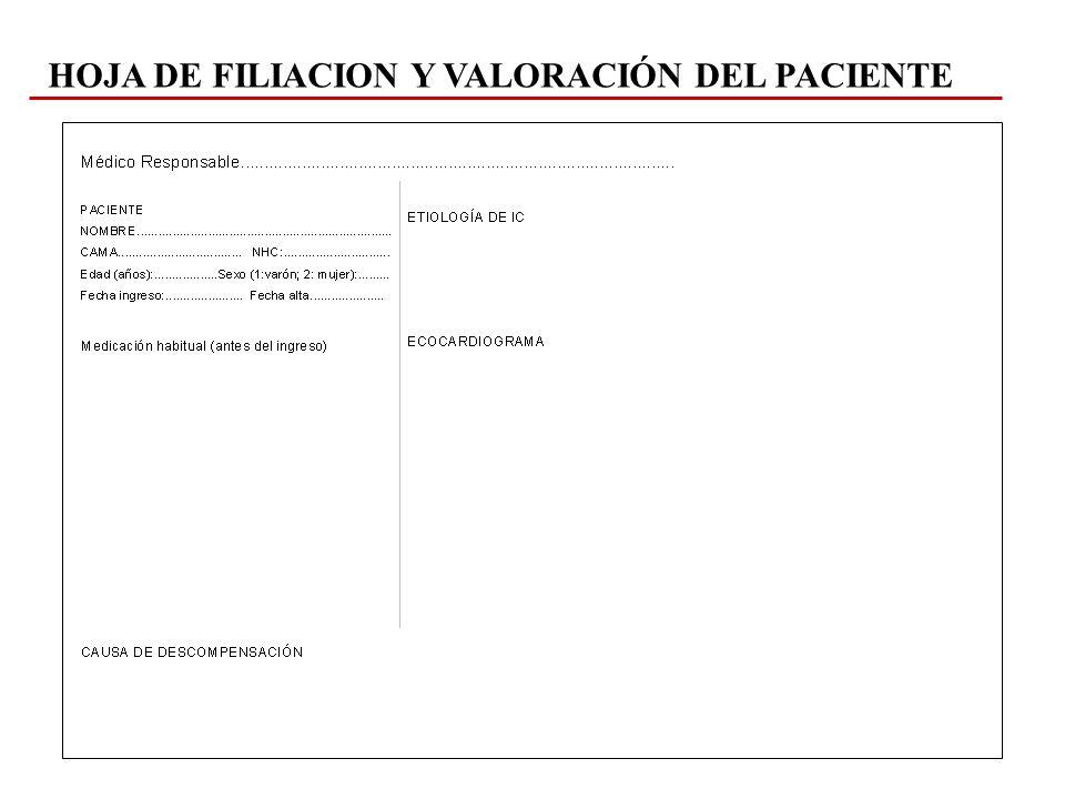 HOJA DE FILIACION Y VALORACIÓN DEL PACIENTE