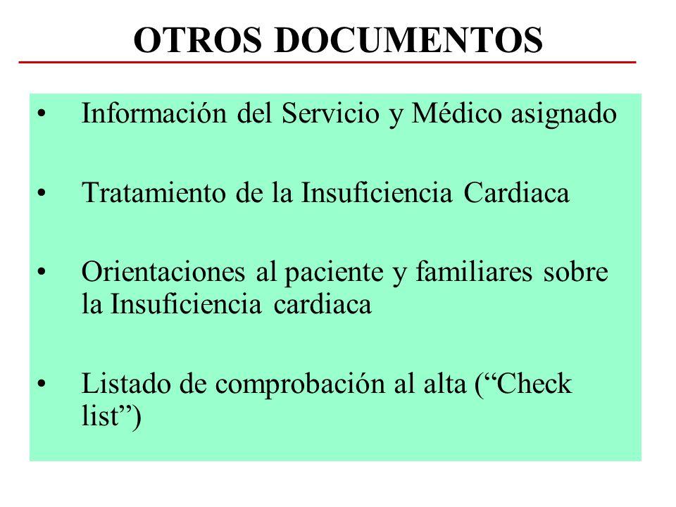 OTROS DOCUMENTOS Información del Servicio y Médico asignado