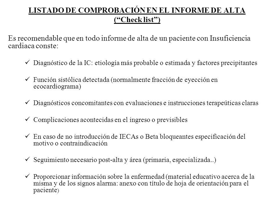 LISTADO DE COMPROBACIÓN EN EL INFORME DE ALTA