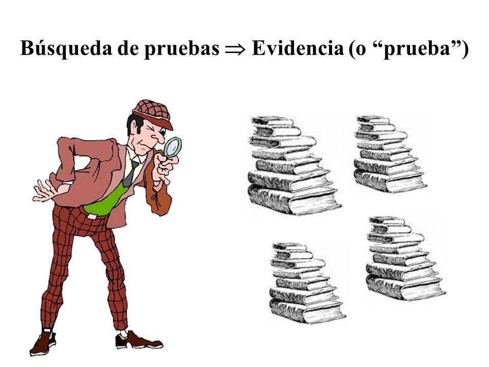Búsqueda de pruebas  Evidencia (o prueba )