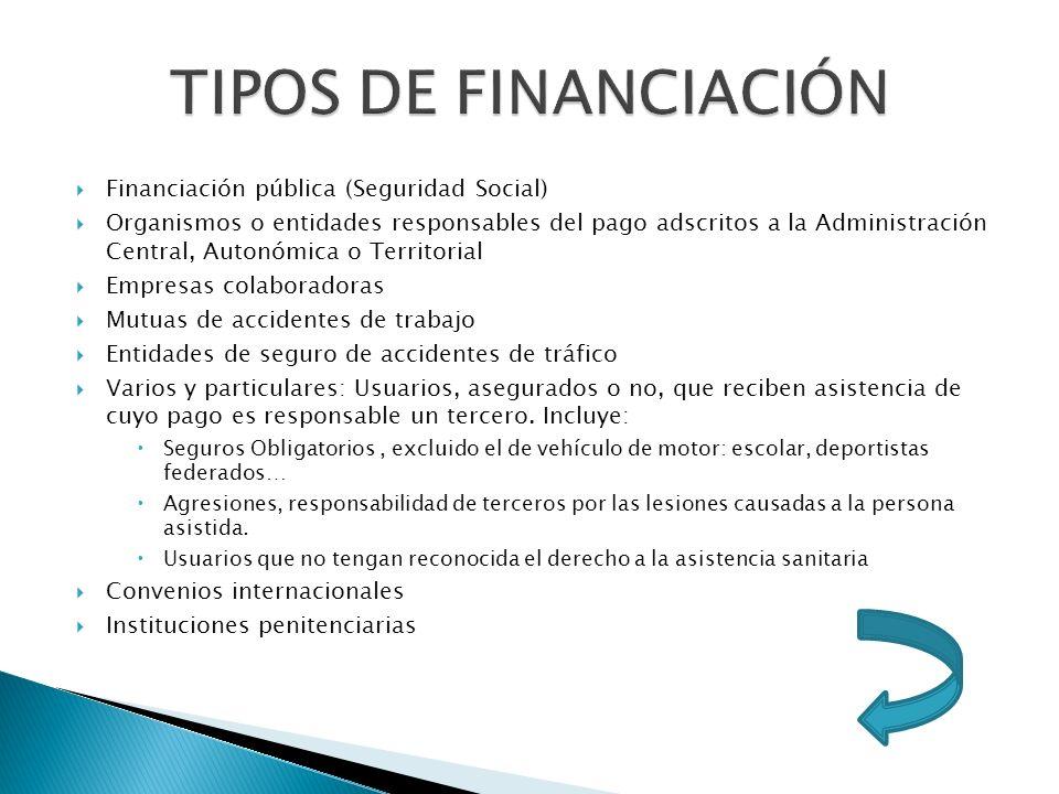 TIPOS DE FINANCIACIÓN Financiación pública (Seguridad Social)