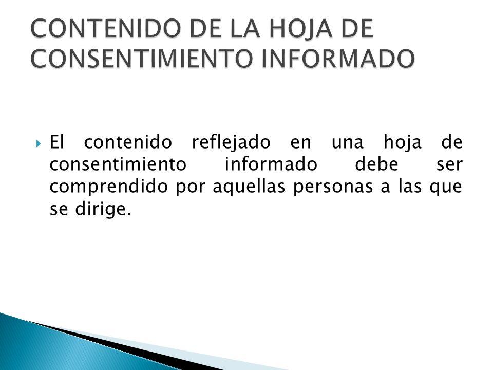 CONTENIDO DE LA HOJA DE CONSENTIMIENTO INFORMADO