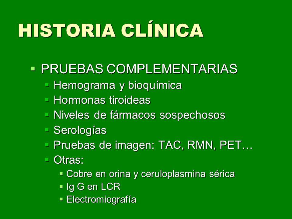 HISTORIA CLÍNICA PRUEBAS COMPLEMENTARIAS Hemograma y bioquímica
