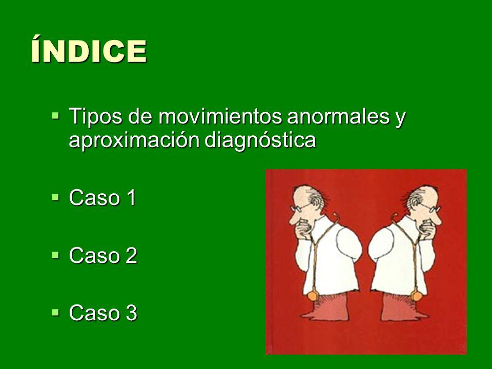 ÍNDICE Tipos de movimientos anormales y aproximación diagnóstica
