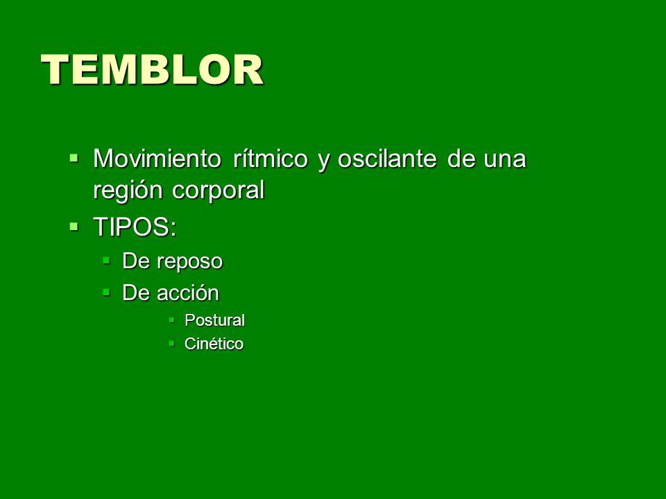 TEMBLOR Movimiento rítmico y oscilante de una región corporal TIPOS: