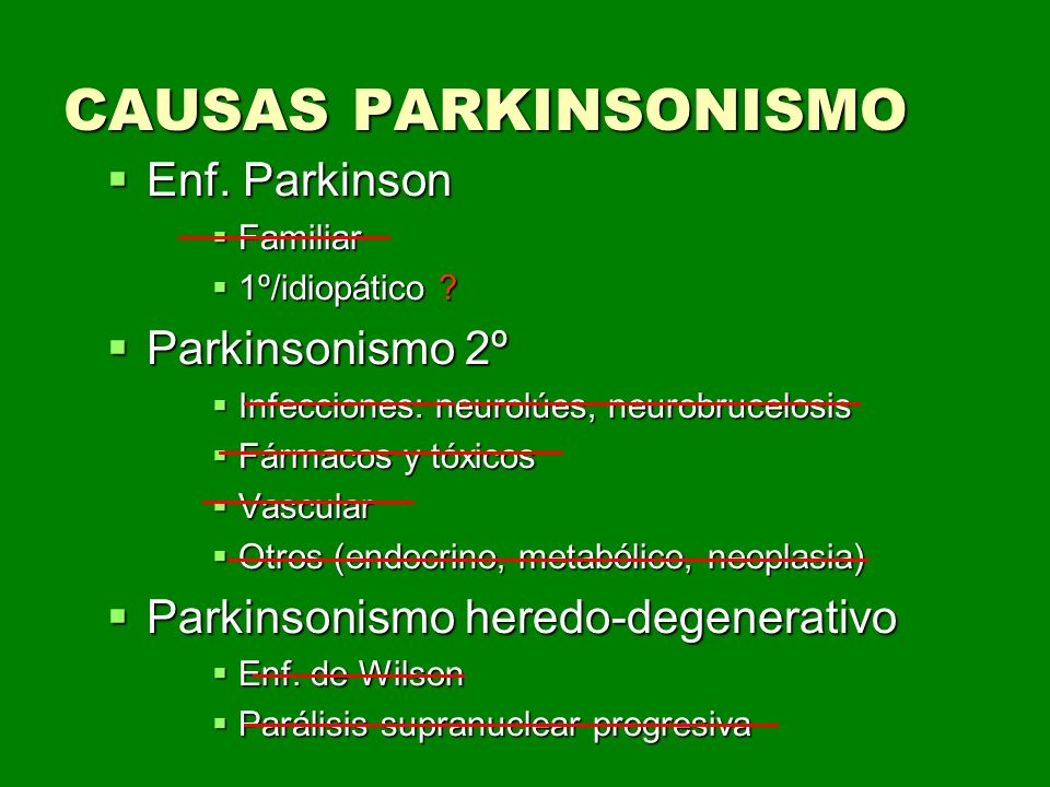 CAUSAS PARKINSONISMO Enf. Parkinson Parkinsonismo 2º