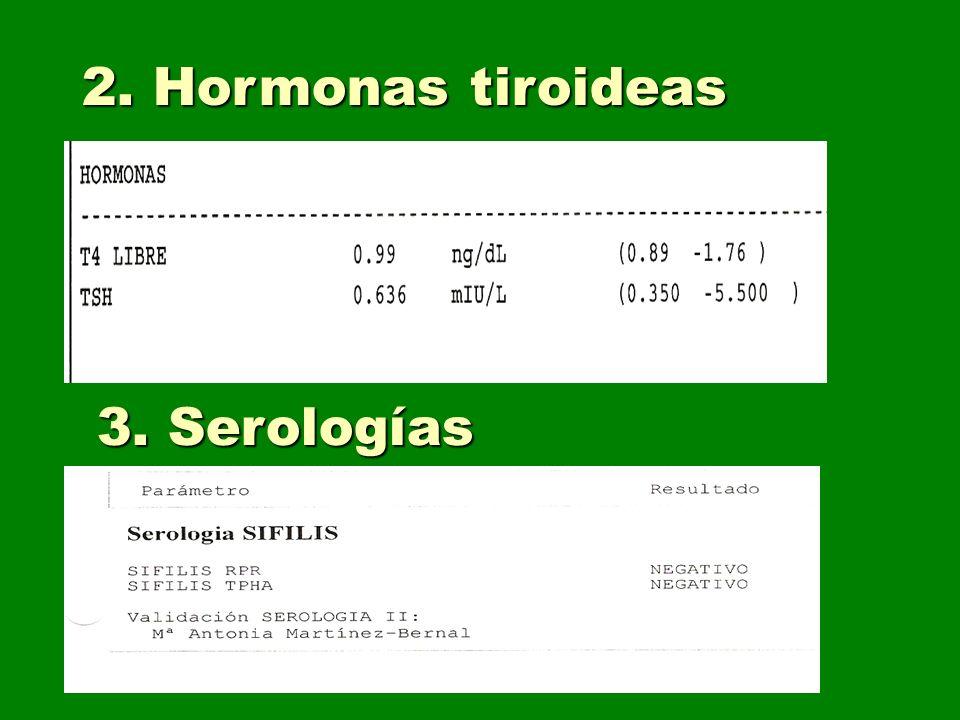 2. Hormonas tiroideas 3. Serologías