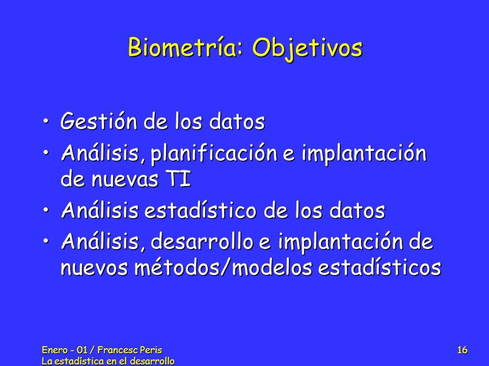 Biometría: Objetivos Gestión de los datos