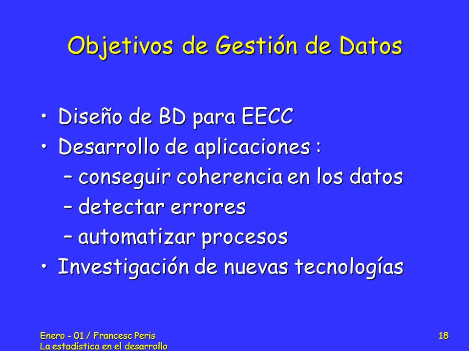 Objetivos de Gestión de Datos