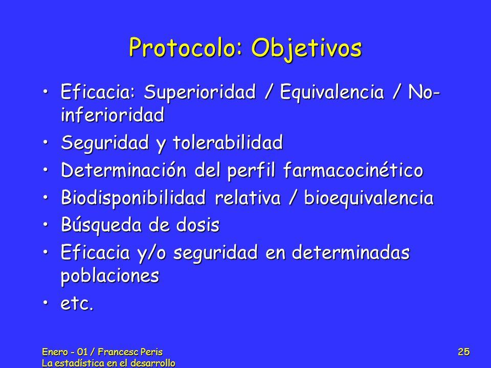 Protocolo: Objetivos Eficacia: Superioridad / Equivalencia / No-inferioridad. Seguridad y tolerabilidad.