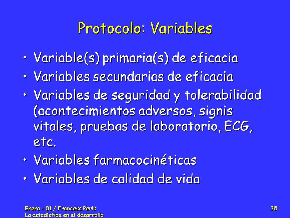 Protocolo: Variables Variable(s) primaria(s) de eficacia