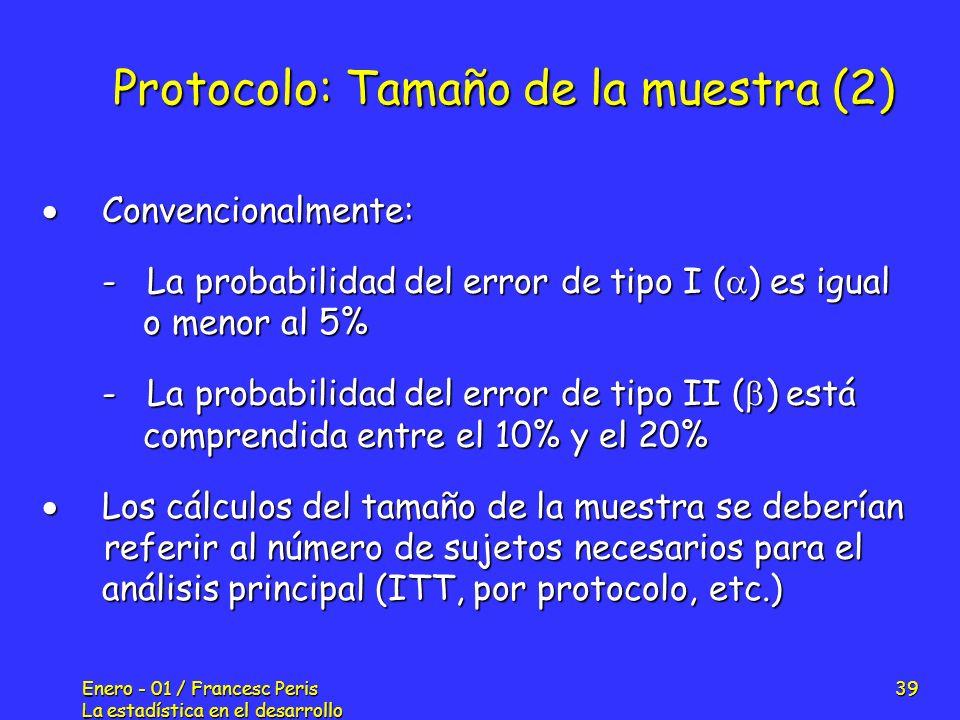 Protocolo: Tamaño de la muestra (2)