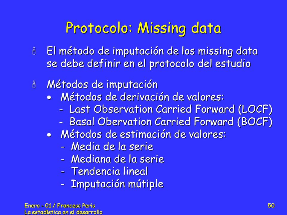 Protocolo: Missing data