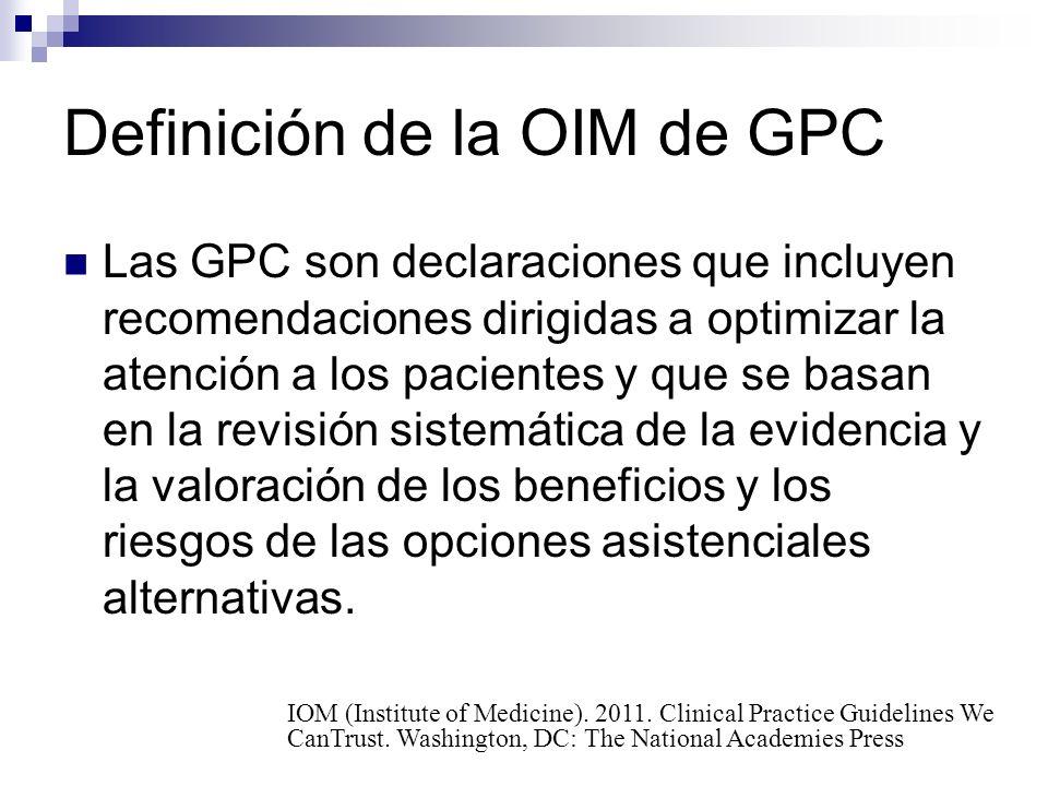Definición de la OIM de GPC