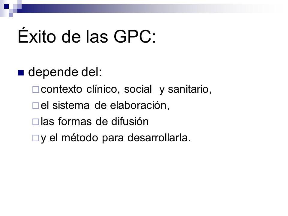 Éxito de las GPC: depende del: contexto clínico, social y sanitario,