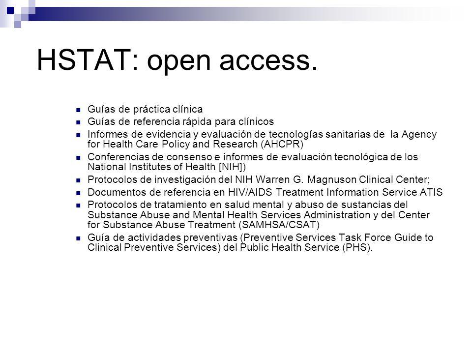 HSTAT: open access. Guías de práctica clínica